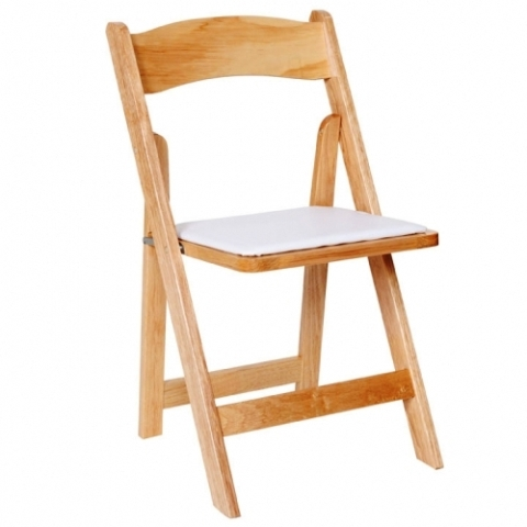 Wood Natural Folding Chair with Padded Seat