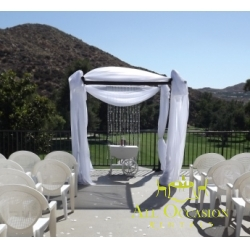 Bamboo Chuppah with draping and crystal for your weeding