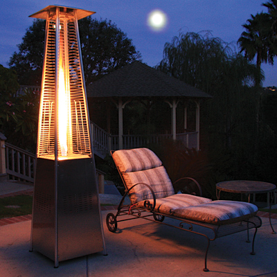 Glass Tube Propane Patio Heater in Stainless Steel