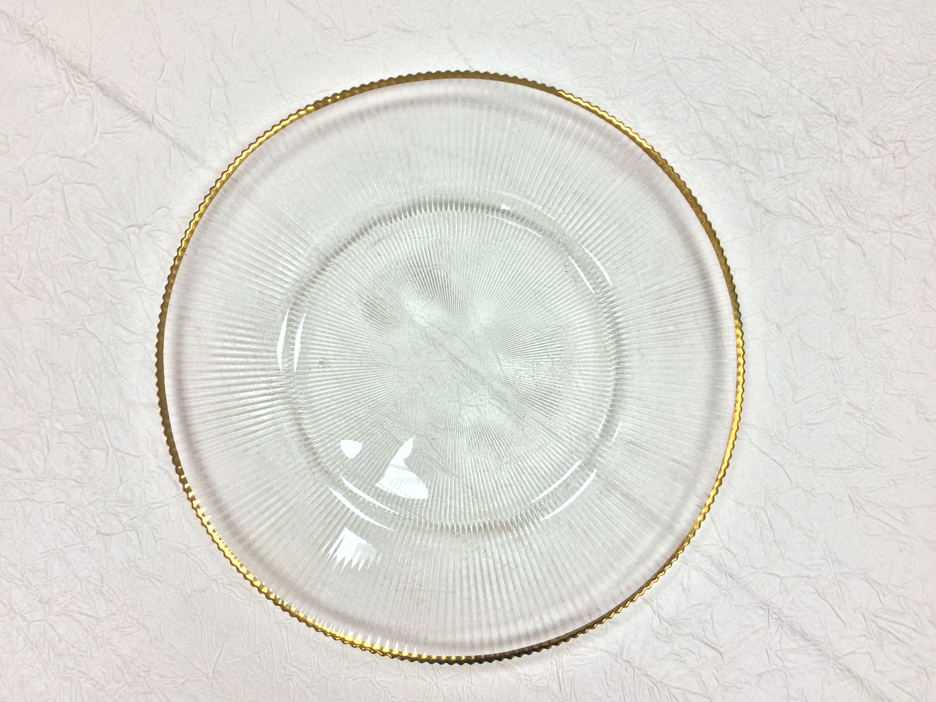 Glass Charger Plate with Gold Rim
