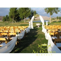 Iron Chuppah with draping and  flower