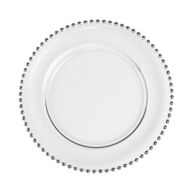 Silver Beaded Glass Charger Plates