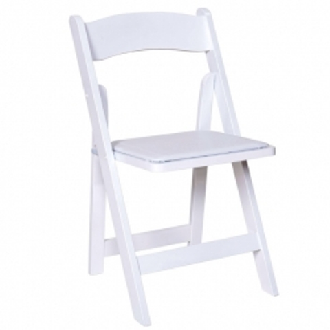 Resin White Folding Chair with Padded Seat