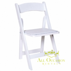 Wood White Folding Chair with Padded Seat