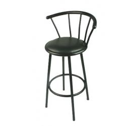 Bar Stool Swivel Gloss Black Metal