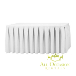14ft Polyester Table Skirt White