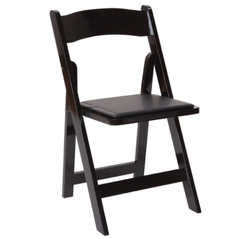 Wood Black Folding Chair with Padded Seat