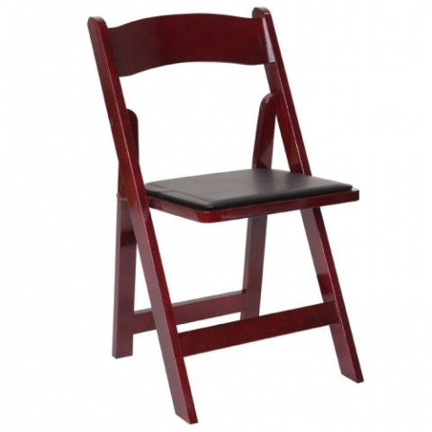 Wood Mahogany Folding Chair with Padded Seat