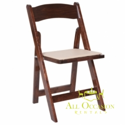 Wood fruitwood Folding Chair with Padded Seat